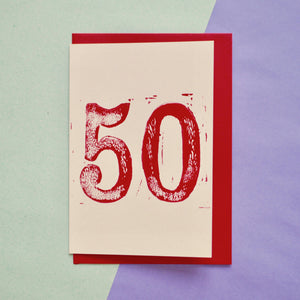 Age 50 Lino Print Birthday Card