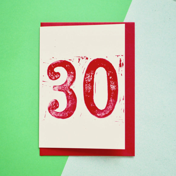 Age 30 Lino Print Birthday Card