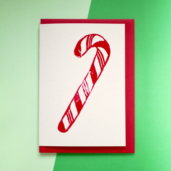 Christmas Candy Cane Lino Print Card