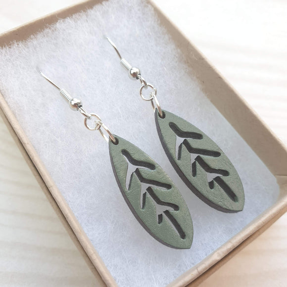 Dangly Leaf Earrings - Sage Green