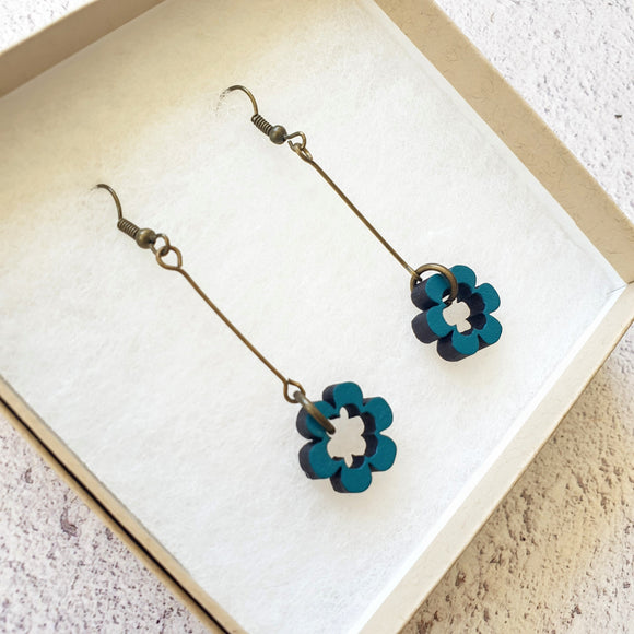 Dangly Daisy Earrings - Petrol Blue