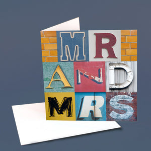 "Typography Card ""Mr and Mrs"""