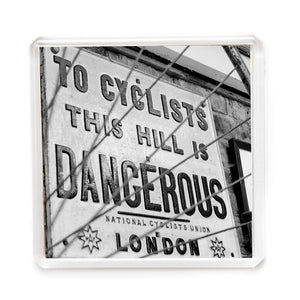 """This Hill is Dangerous to Cyclists"" Fridge Magnet"