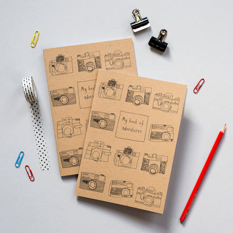 'My Book of Adventures' Camera Recycled Notebook