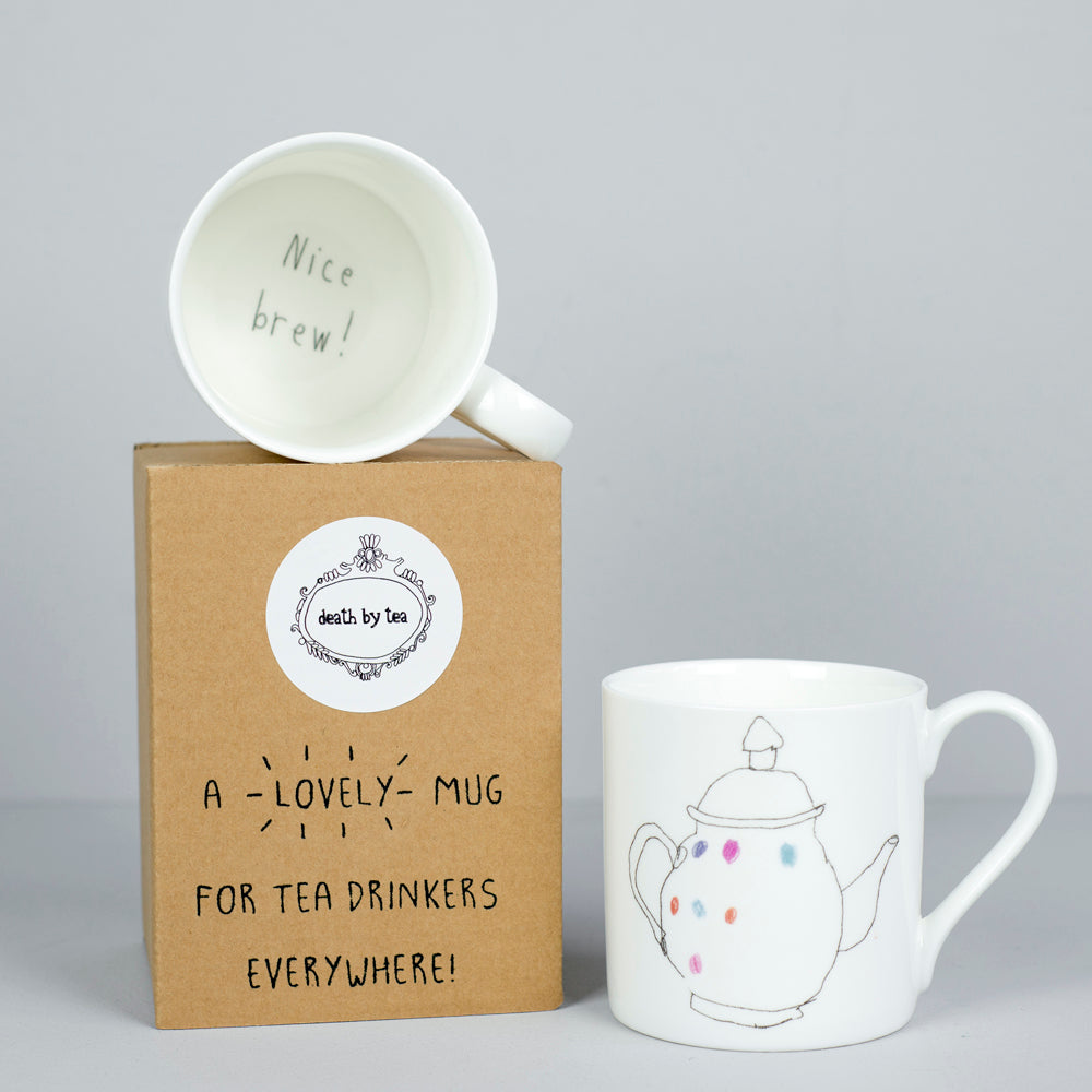 'Tea Solves Most Problems' Bone China Teapot Mug