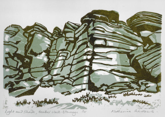 Light and Shade , Heather Wall Stanage  - Linocut Original Print (Edition of 15)