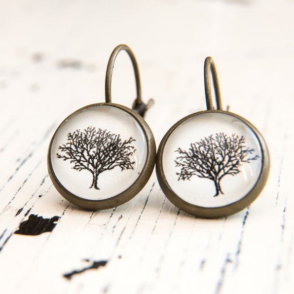 Cabochon Dangly & Stud Earrings /  Natural Graphic Tree / Black And White