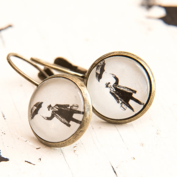 Cabochon Dangly & Stud Earrings / Natural Graphic French Man With An Umbrella / Black And White