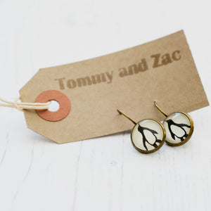 Cabochon Dangly & Stud Earrings / Natural Graphic Penguin / Black And White