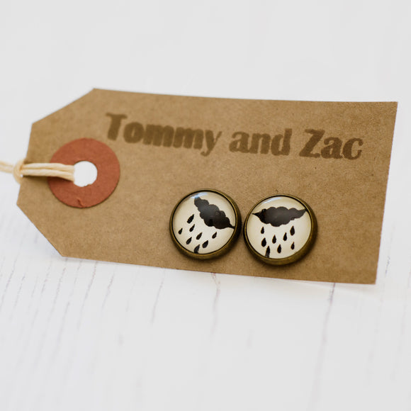 Cabochon Dangly & Stud Earrings / Natural Graphic Cloud & Rain / Black And White