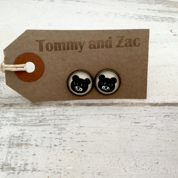 Cabochon Dangly & Stud Earrings / Natural Graphic A Bear Face / Black And White