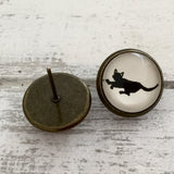 Cabochon Dangly & Stud Earrings / Natural Graphic Black Walking Cat / Black And White