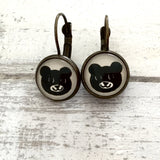 Cabochon Earring A Bear Face