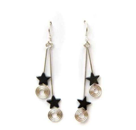 Double drop hematite star earrings with coils. On silver earwires.