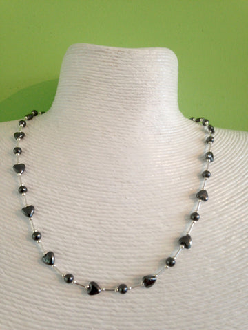 Silver and hematite heart necklace.