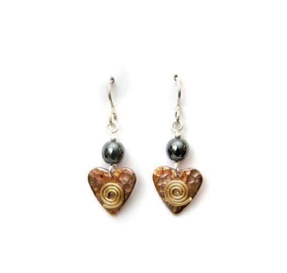 Copper heart earrings with hematite.