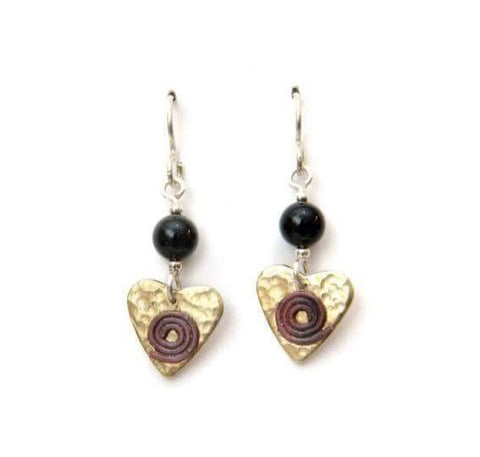 Brass heart earrings with onyx.