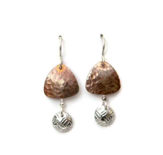 Copper earrings with pewter domes.