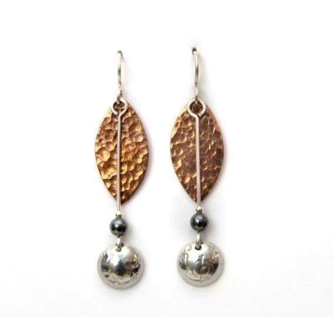 Copper and pewter drop earring.