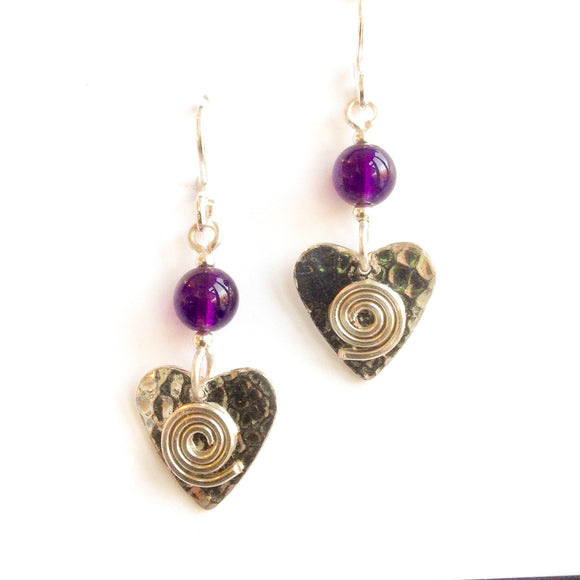Pewter and amethyst earrings.