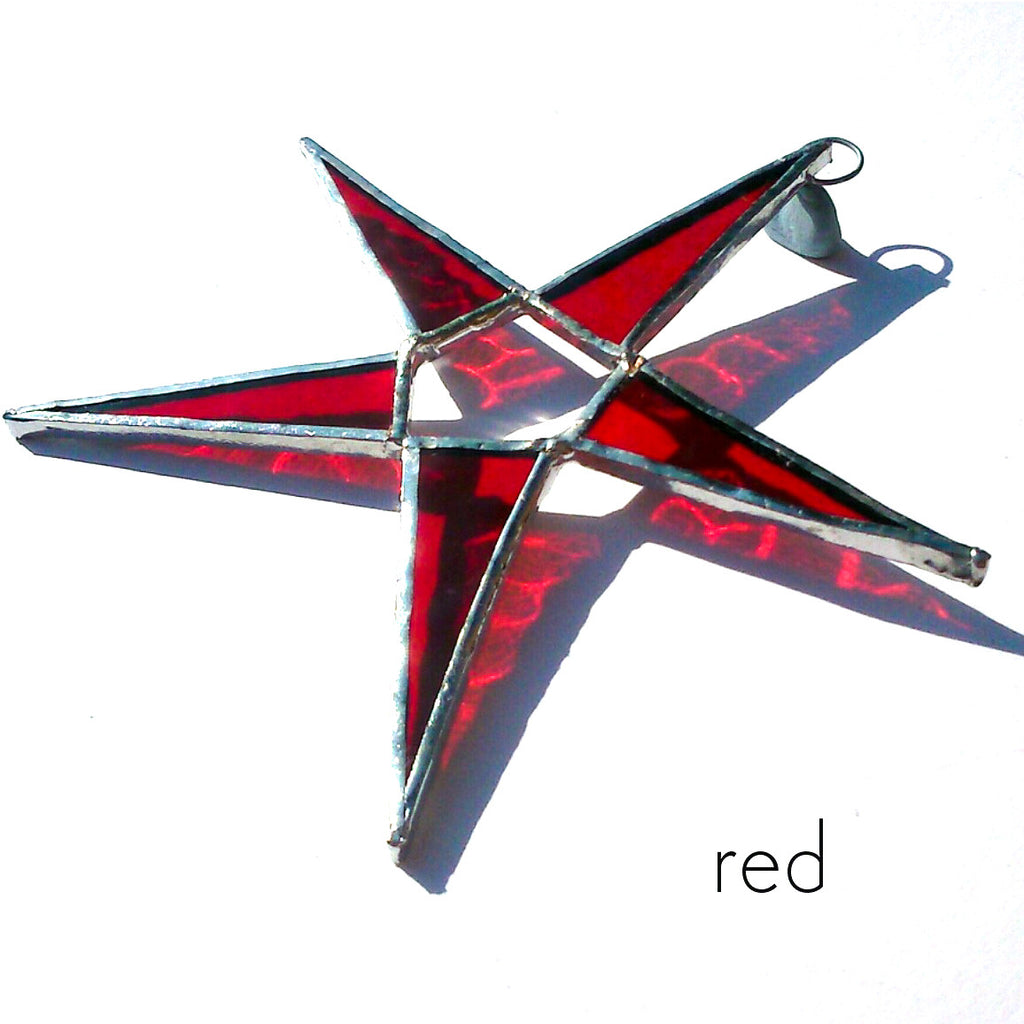 Red Stained Glass Star Suncatcher