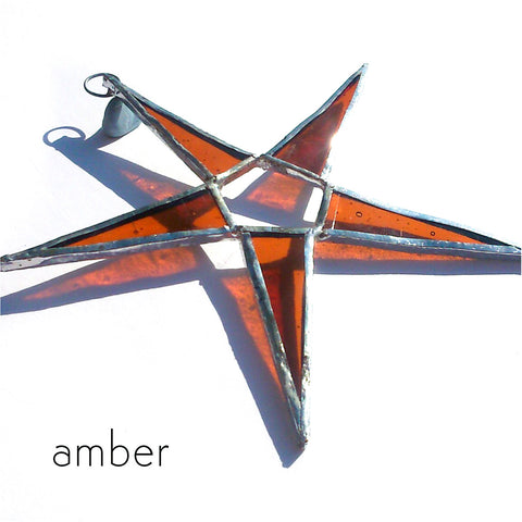 Amber Orange Stained Glass Star Suncatcher