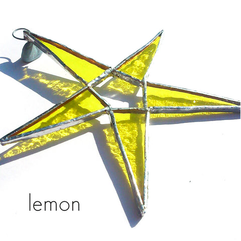 Lemon Yellow Stained Glass Star Suncatcher