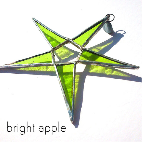 Apple Green Stained Glass Star Suncatcher