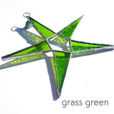 Grass Green Stained Glass Star Suncatcher
