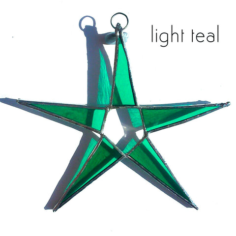 Light Teal Stained Glass Star Suncatcher