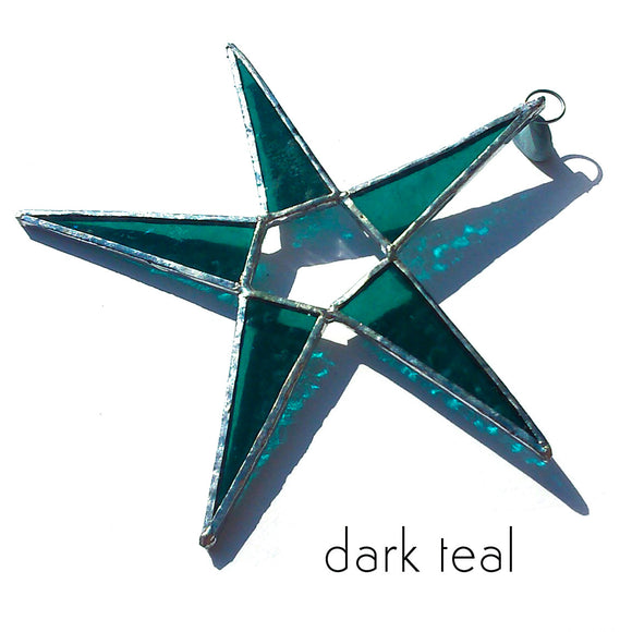 Dark Teal Stained Glass Star Suncatcher