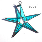 Aqua Stained Glass Star Suncatcher