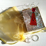 Red Stained Glass Hanging Angel Suncatcher