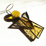 Golden Yellow Stained Glass Angel Suncatcher
