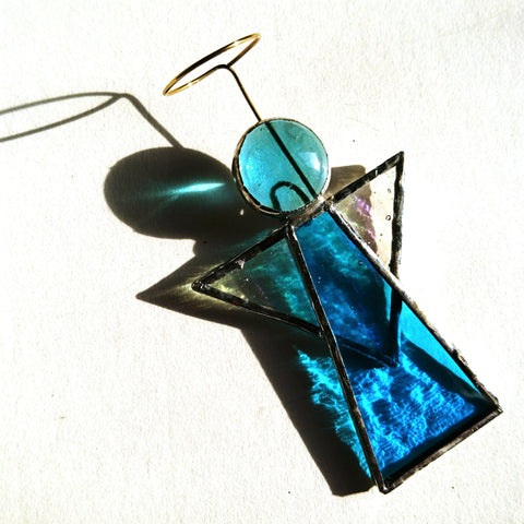 Turquoise Aqua Stained Glass Angel Suncatcher
