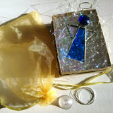 Blue Stained Glass Angel Suncatcher