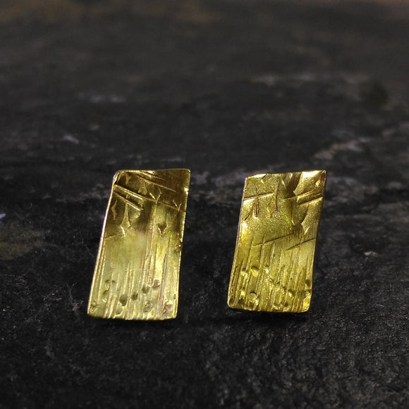 Brass 'Rainy Day' design rectangle studs