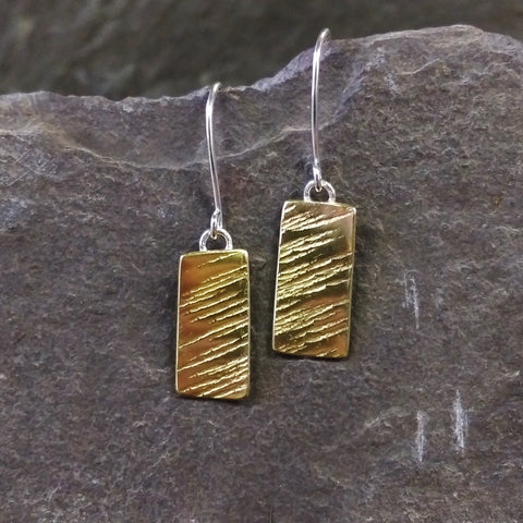 Brass Line hammer texture earrings