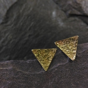 Brass Flower texture statement studs