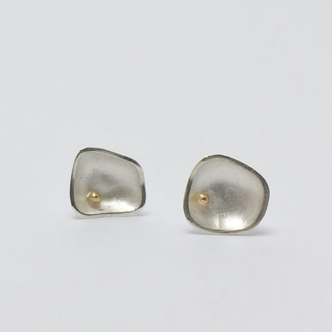 Bloom Pebble studs - silver with 9ct gold bead