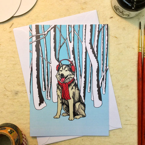 'Winter Wolf' Greetings Card