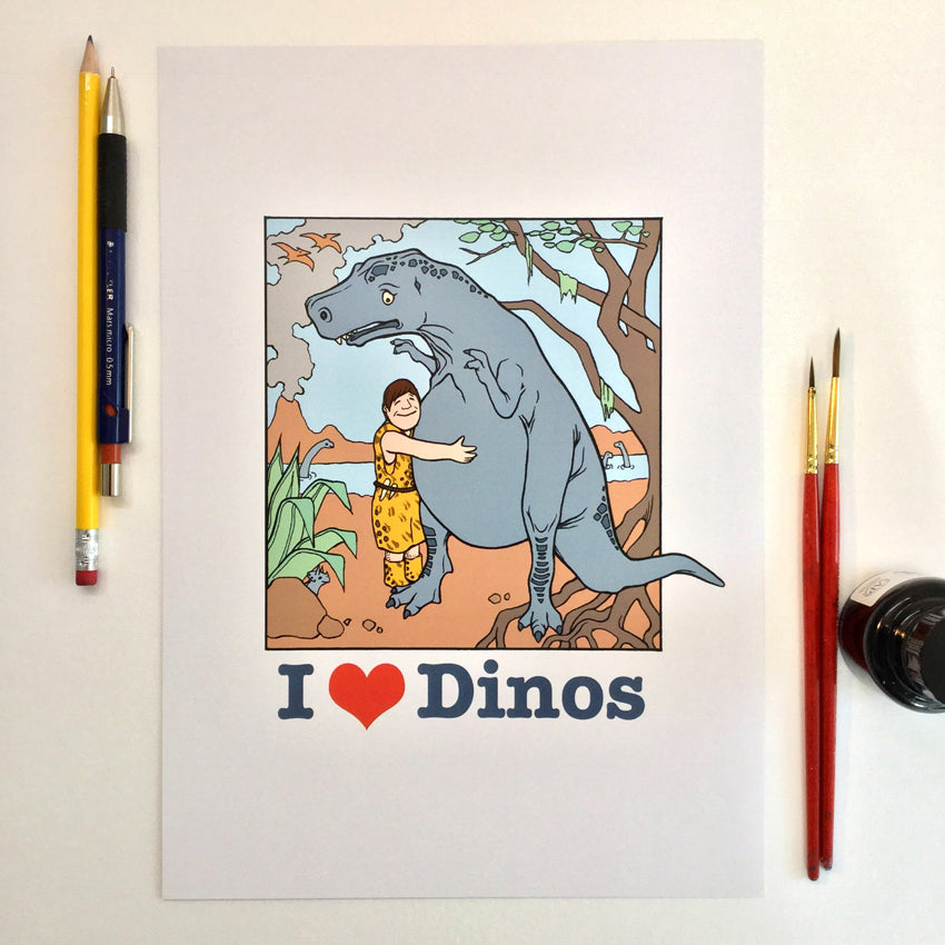 I Love Dinos (A4 digital print)