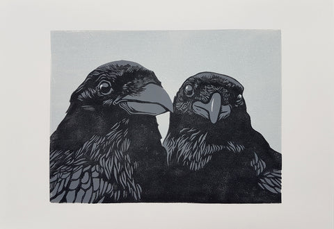 Crows (lino print)