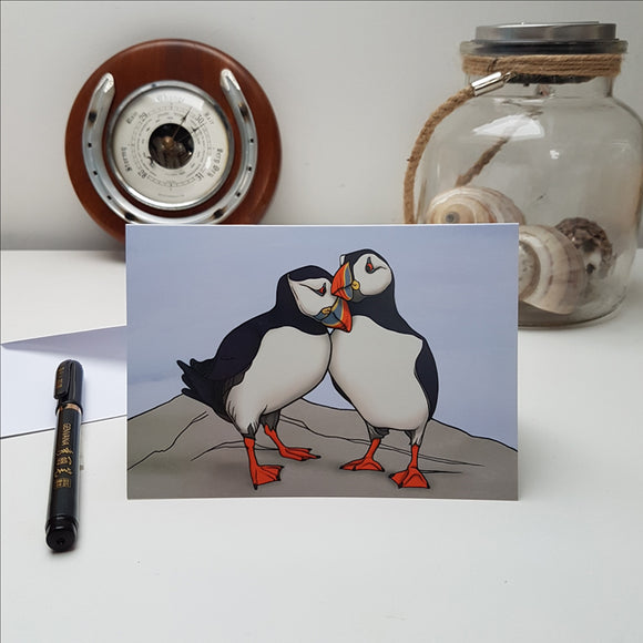 'Puffins' greetings card