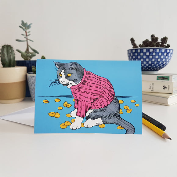 'Cat' greetings card