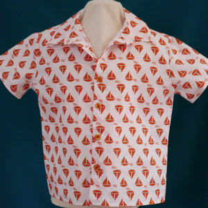 Age 3 Kids Handmade Shirt - Orange Sailboats