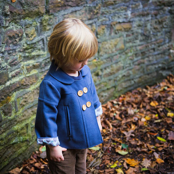 Age 3 Kids Blue Wool Coat