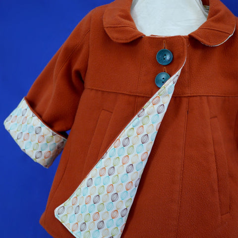 Age 3 Kids Cinnamon handmade Swing Coat