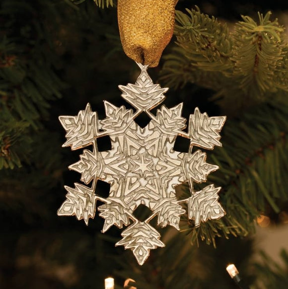 Spikey Snowflake Pewter Christmas Decoration