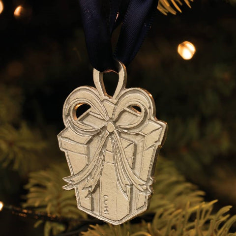 Pewter Present Christmas Decoration